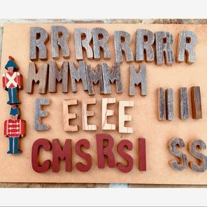 Wood Cutout Painted Soldiers Random Rustic Letters